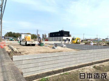 稲沢市 A薬局様 造成・一次外構工事 CBブロック積み 全景