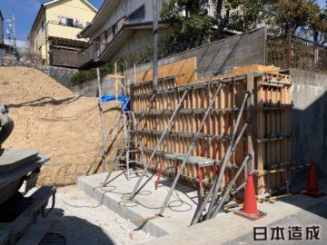 名古屋市緑区にて住宅用の擁壁造成工事が完了いたしました。日本造成
