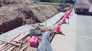 名古屋市港区I様 擁壁工事の様子 捨てコンクリート 基礎部分
