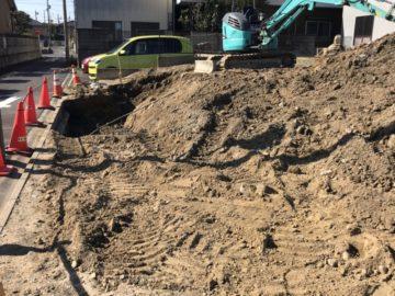 名古屋市港区I様の擁壁工事が始まりました。解体後 宅地造成 名古屋エリア 日本造成