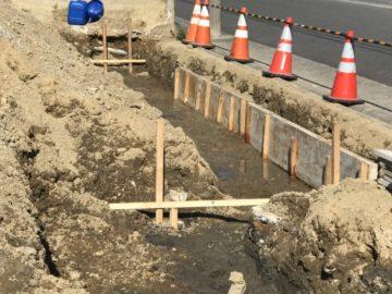 名古屋市港区I様 擁壁工事の様子 型枠設置