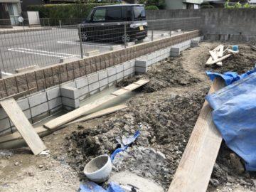 海部郡大治町 S様 田んぼ 宅地造成 砕石敷き・ブロック積み