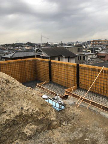 東海市擁壁 施工中